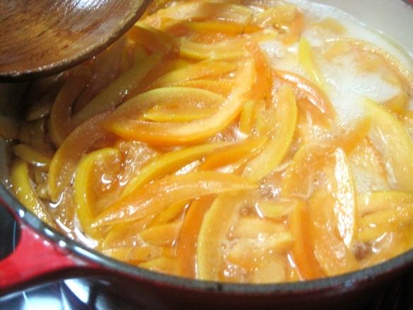 Sliced peels simmering away