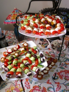 Greek-salad skewers -- tomatoes, feta, cucmbers and olives