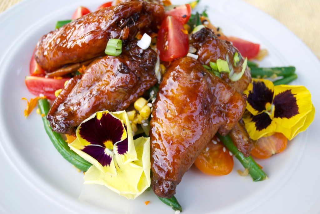 Teriyaki Chicken Wings and Asian-Style Succotash