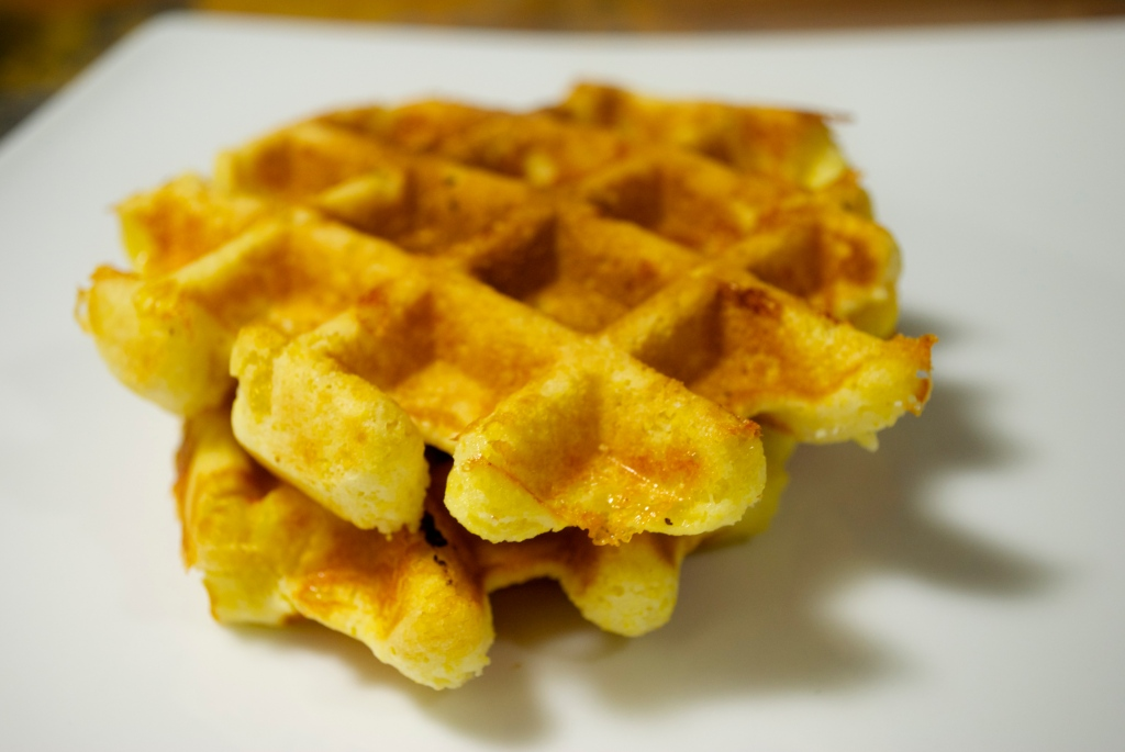 Corn, Cheddar and Serrano Chile Waffles