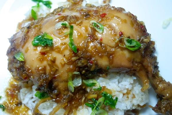 Close-Up Caramelized Ginger Chicken