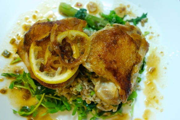 Roasted Chicken Thighs w/ Lemon and Oregano