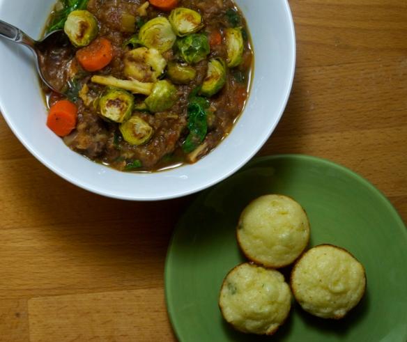 Mini Buttermilk Corn Muffins w/ Winter Vegetable & Beef Stew