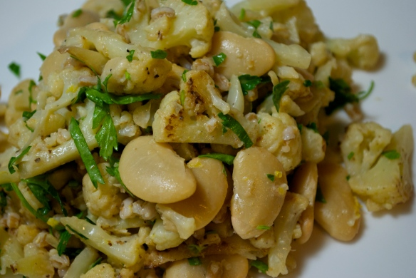 Butter Beans with Cauliflower, Farro and Lemon