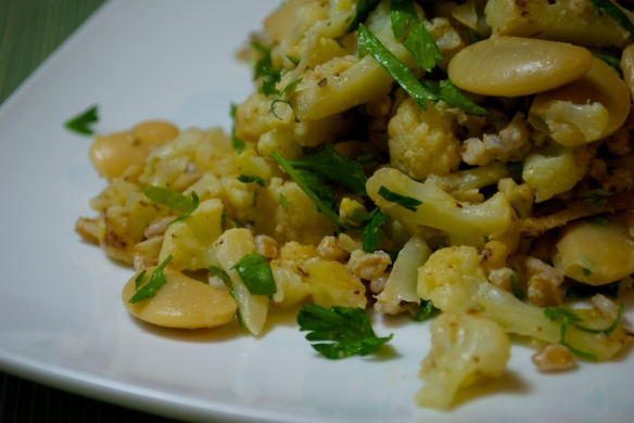 Butter bean, caulflower and farro salad