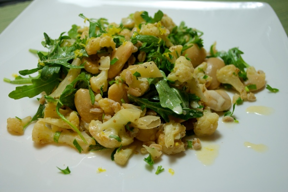 Butter bean, farro and cauliflower salad