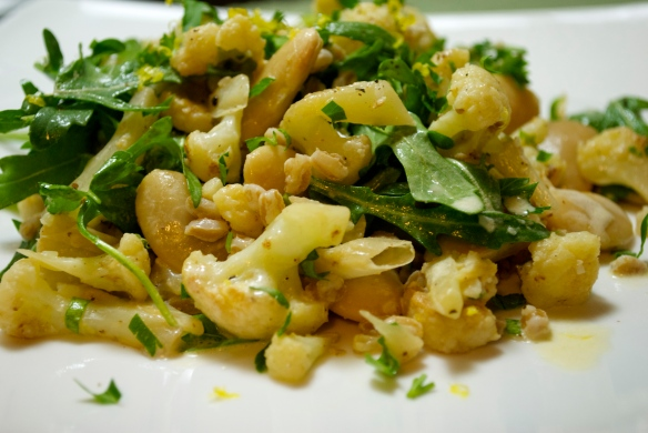 Butter bean, caulflower and farro salad