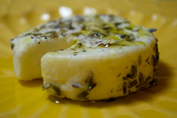 Lavender Rubbed Goat Cheese with Extra Virgin Olive Oil