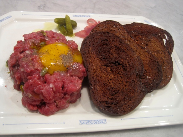 Beef tartare with cornichons, onions and an egg yolk at Rain Shadow Squared