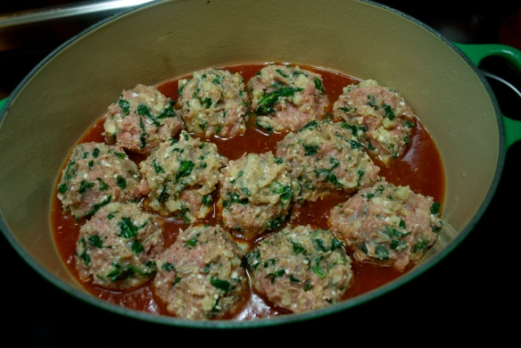 Turkey Spinach Meatballs -- about to be covered in (more) sauce and baked for 2 hours