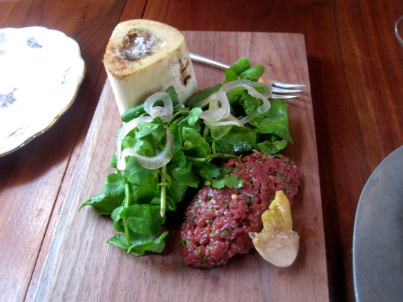 Fallow Venison Heart Tartare, Venison Marrow Bone and Arugula Salad