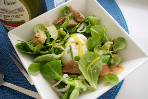 Soft Boiled Egg, Mache, Lemon Zest Salad...with some Foie Gras and Proscuitto thrown in for fun...