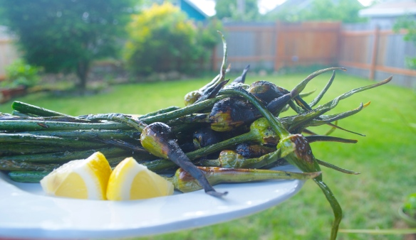 Grilled Garlic Scapes with Lemon