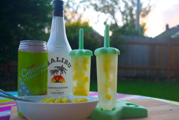 Malibu Rum, Pineapple and Coconut Popsicles