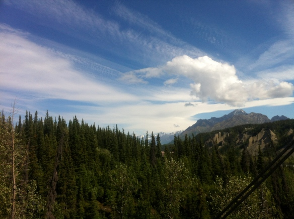 The view from the starting point of the Nitro zipline in Glacier View, AK