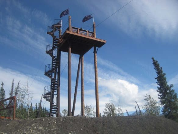 The base of The Nitro Zipline in Glacier View, AK