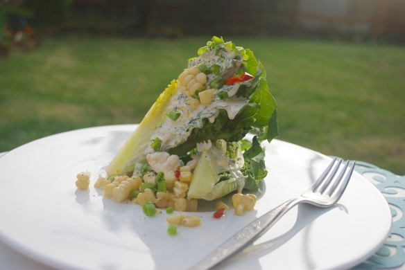Little gem salad w/ feta dressing, grilled corn and Calabrian chiles