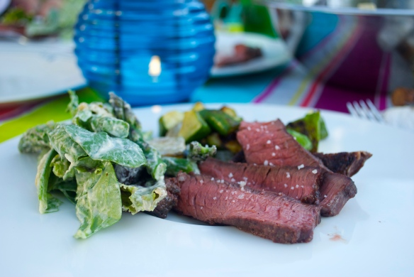 Grilled bison with summer squash and greens