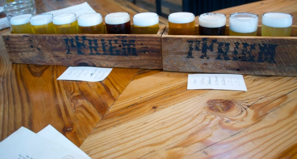 Ten-beer sampler at Pfriem Brewery