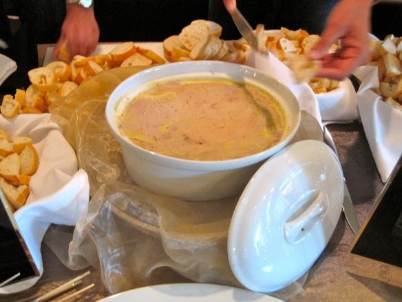 A massive pot of foie gras up for grabs!