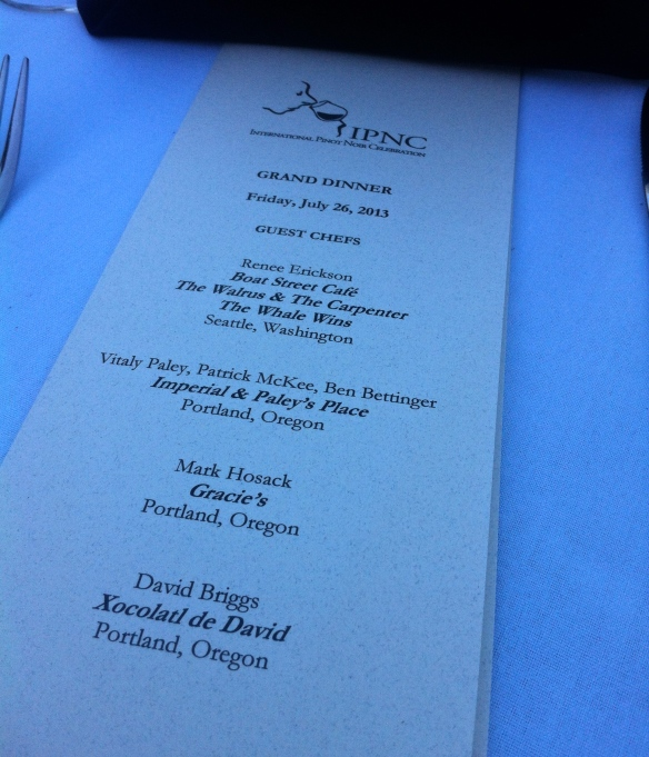 Grand Dinner Menu, IPNC 2013