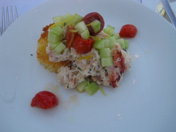 Crab Salad, brioche, cucumbers, pickled cherry tomatoes and tarragon aioli, courtesy of Renee Erickson