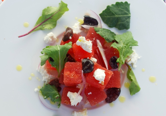 Compressed watermelon salad w. olives, feta, micro greens and olive oil