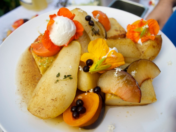 Brown butter and thyme roasted pears, goat cheese-stuffed nasturtium and panisse