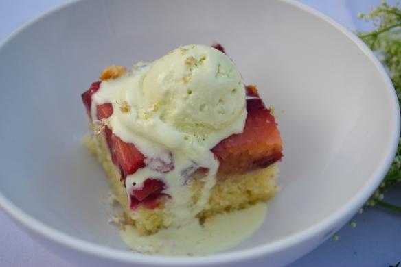 Plum Upside Down Cake w/ Fig Leaf Ice Cream