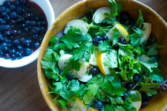 Pickled Blueberries w/ Summer Greens