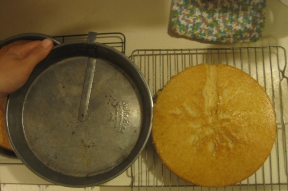 Two round cakes were baked in my grandma's awesome vintage pans
