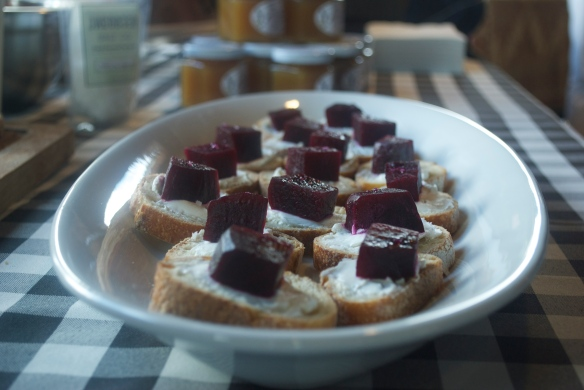 Portland Creamery goat cheese with roasted beets