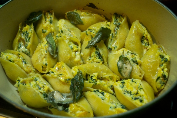 Acorn squash and ricotta stuffed shells