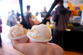Salt & Straw Ice Cream -- Mint with Sea Urchin. Amazingly delicious!