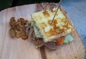 Waffle sandwich w/ duck confit, by Greg and Gabbi Denton of Ox