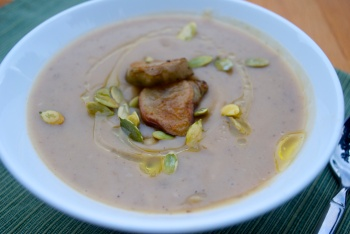 Roasted Sunchoke Soup with hazelnut oil and pumpkin seeds