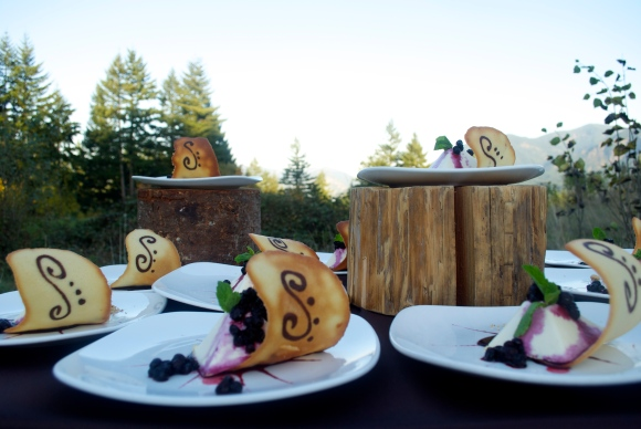 Goat cheese cheesecake with huckleberries and tuile cookie