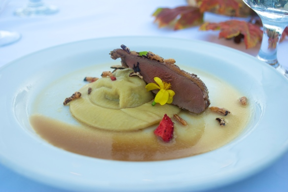 Pigeon-stuffed ravioli, with seared breast, dehydrated strawberries and puffed wild rice. Chef Chris Carriker, 23 Hoyt