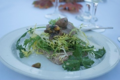 Foie Terrine topped with frisee, Chef Chris DiMinno, Clyde Common
