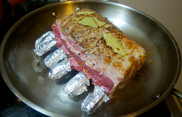 Seared, tied and ready for the oven