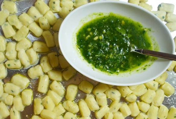 Gnocchi with nasturtium pesto