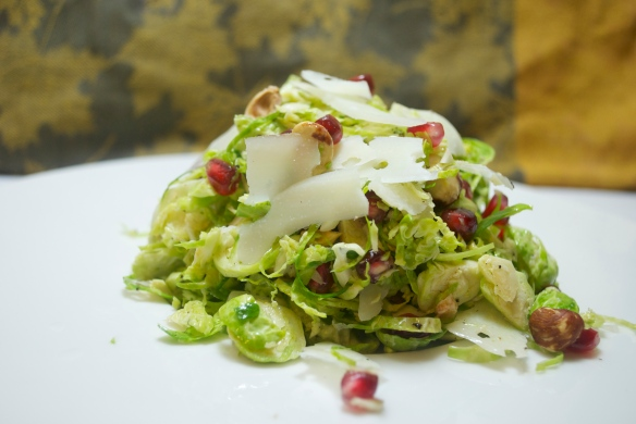 Brussels sprouts, hazelnuts, pomegranate seeds and Parmesan