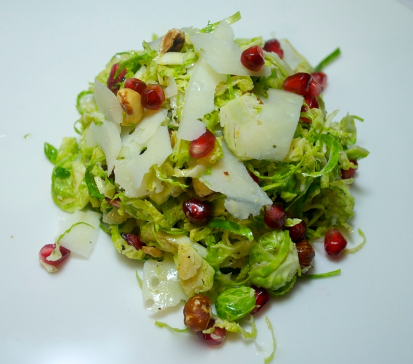 Brussels sprout, hazelnuts, pomegranate seeds and Parmesan