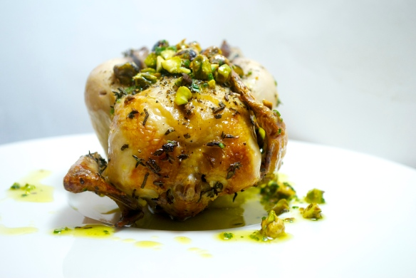 Herbed Poussin with Pistachio Relish