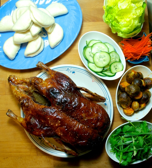Peking duck, steamed buns and accompaniments