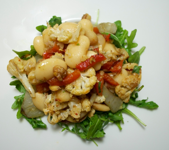 Butter beans with red pepper and walnut relish