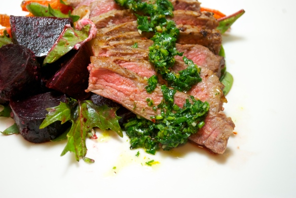 Seared Striploin, Orange-Parsley Chimichurri with Roasted Beets and Carrots.