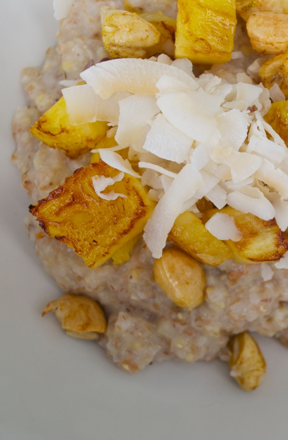 Hot cereal with pineapple, cashews and coconut