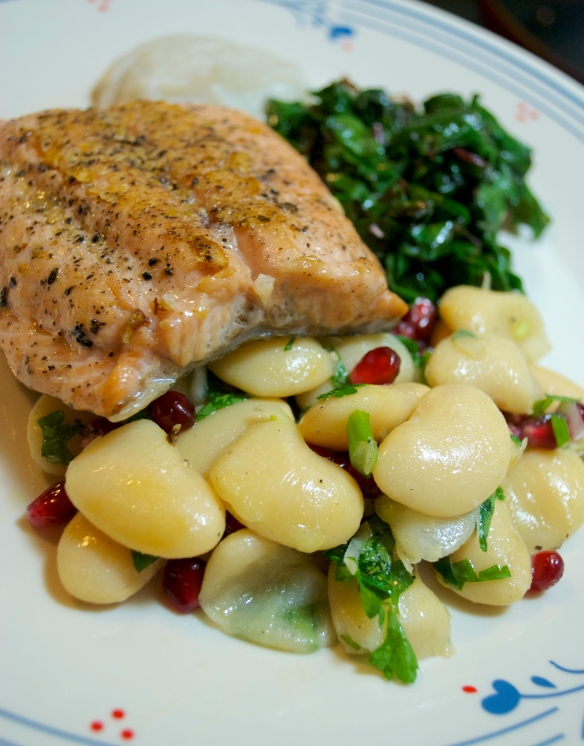Steelhead with Butter Bean & Pomegranate Salad
