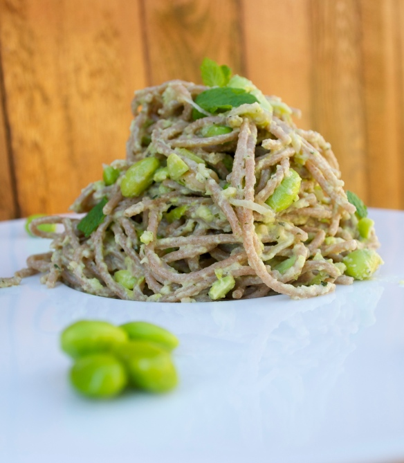 Farro Pasta with Edamame, Almond and Mint Pesto